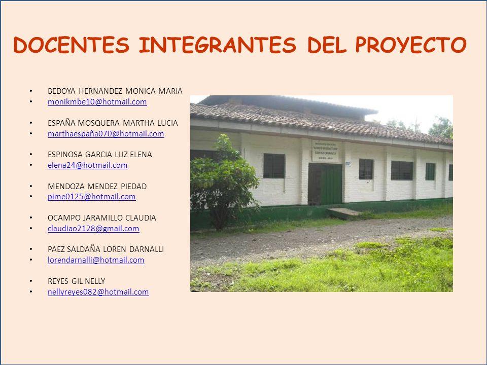 DOCENTES INTEGRANTES DEL PROYECTO