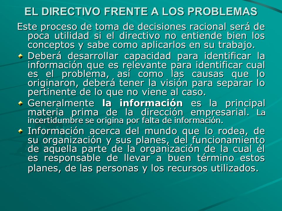 EL DIRECTIVO FRENTE A LOS PROBLEMAS