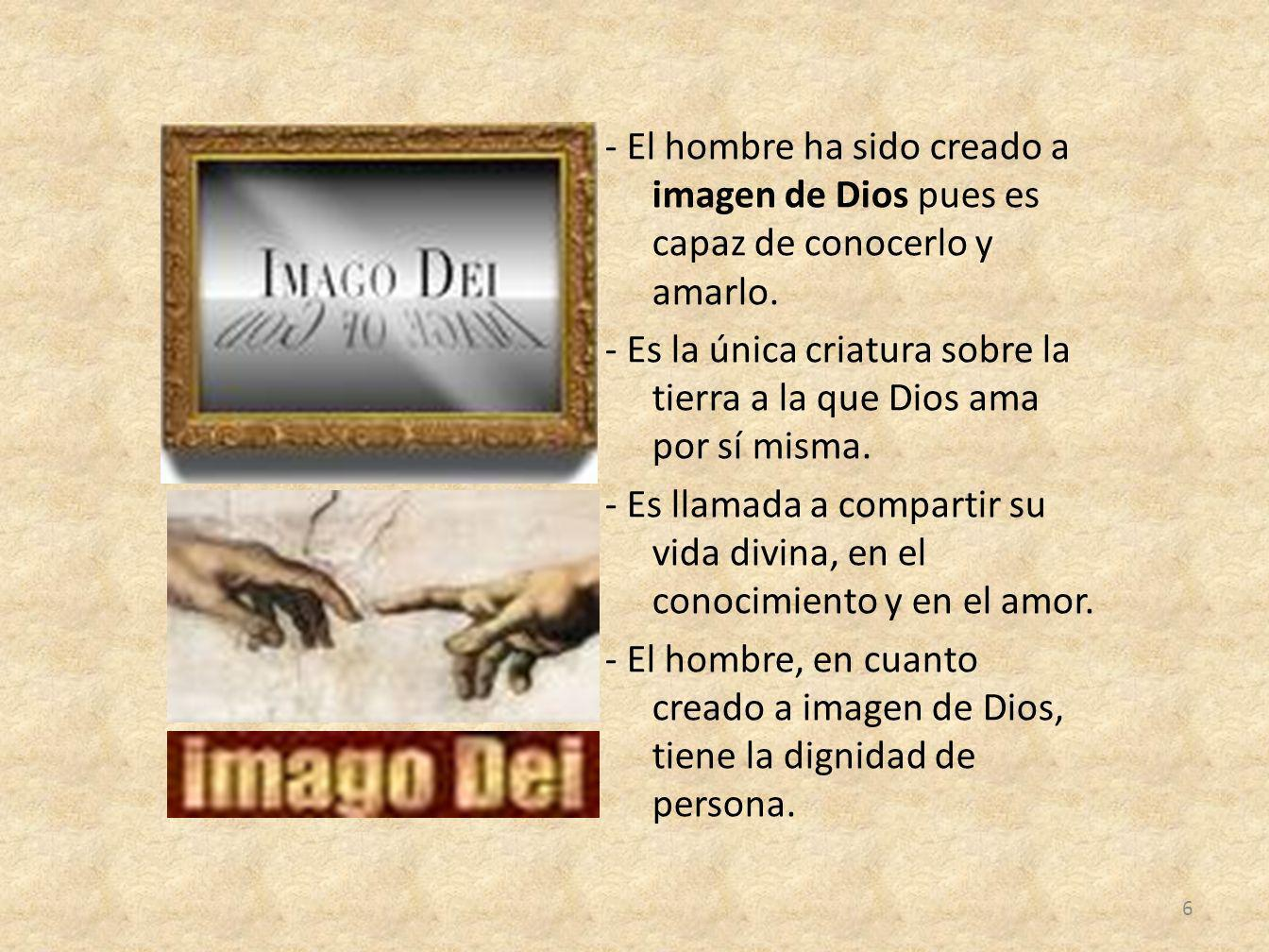 - El hombre ha sido creado a imagen de Dios pues es capaz de conocerlo y amarlo.