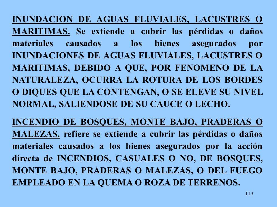 INUNDACION DE AGUAS FLUVIALES, LACUSTRES O MARITIMAS