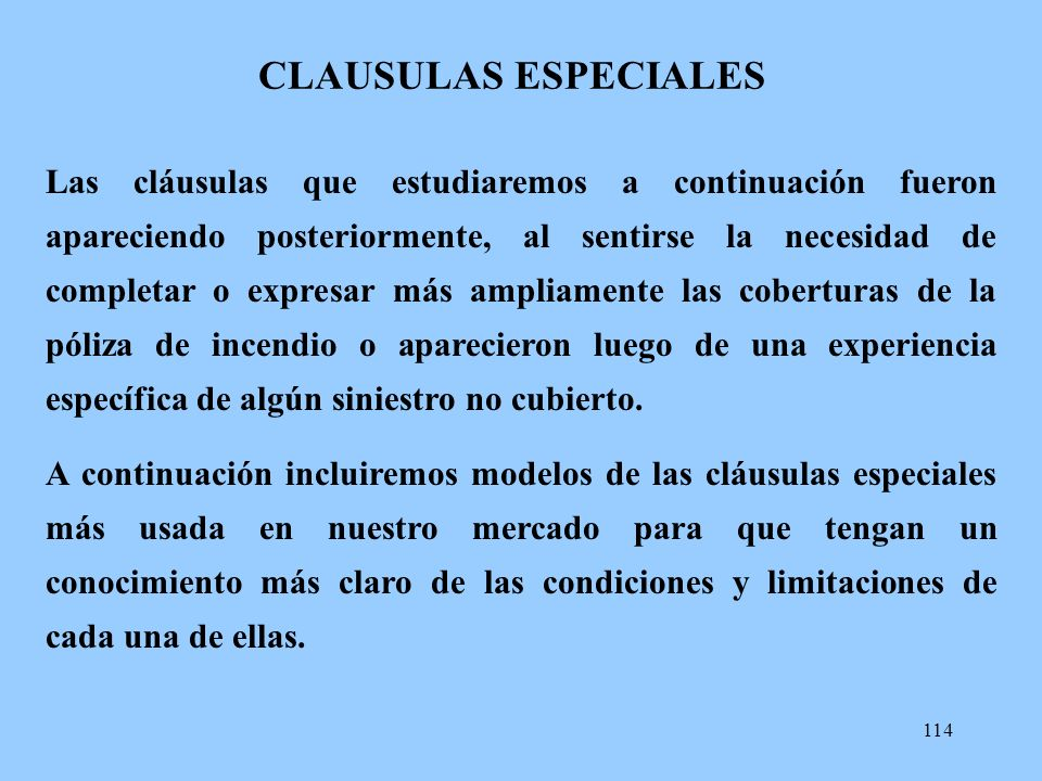 CLAUSULAS ESPECIALES