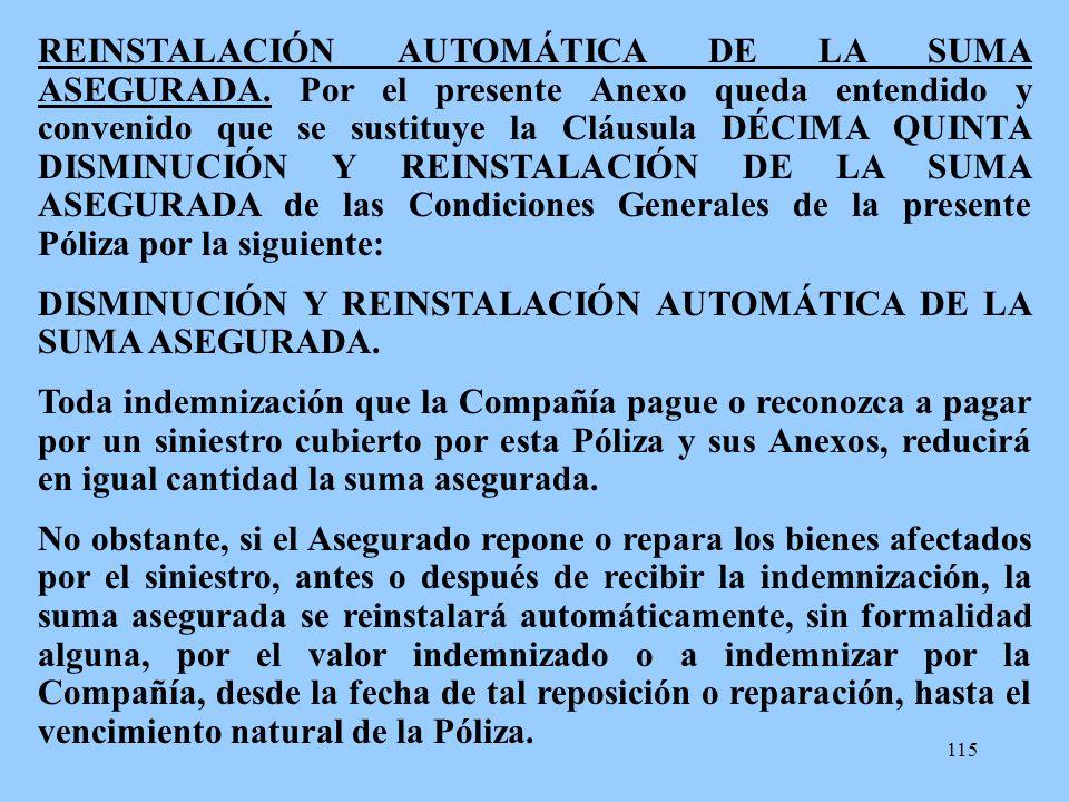 REINSTALACIÓN AUTOMÁTICA DE LA SUMA ASEGURADA