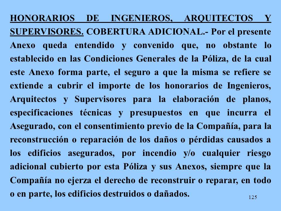 HONORARIOS DE INGENIEROS, ARQUITECTOS Y SUPERVISORES