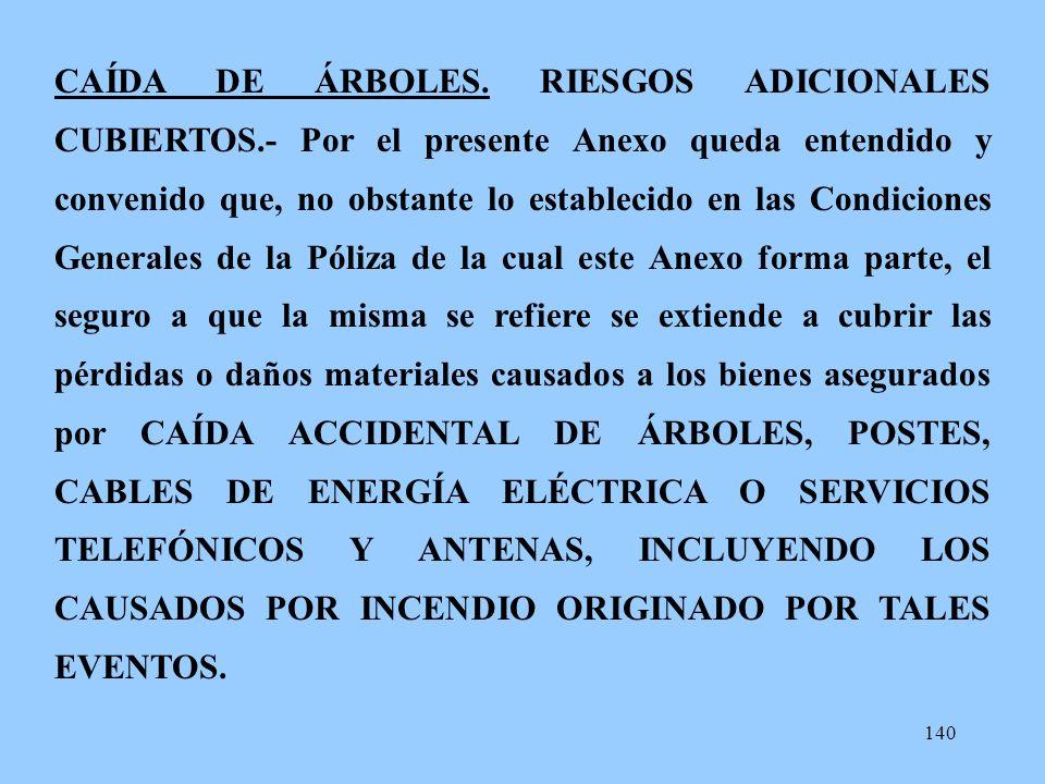 CAÍDA DE ÁRBOLES. RIESGOS ADICIONALES CUBIERTOS