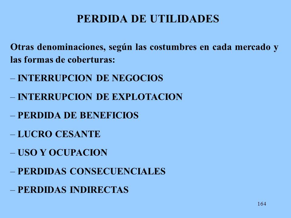 PERDIDA DE UTILIDADES Otras denominaciones, según las costumbres en cada mercado y las formas de coberturas: