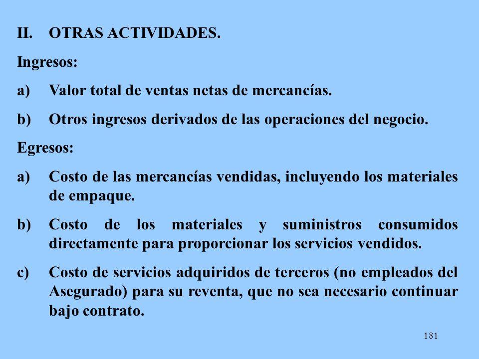 OTRAS ACTIVIDADES. Ingresos: Valor total de ventas netas de mercancías. Otros ingresos derivados de las operaciones del negocio.