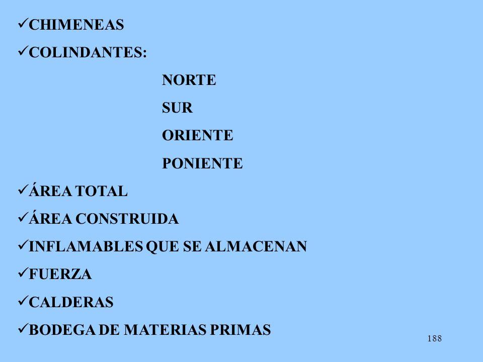 CHIMENEAS COLINDANTES: NORTE. SUR. ORIENTE. PONIENTE. ÁREA TOTAL. ÁREA CONSTRUIDA. INFLAMABLES QUE SE ALMACENAN.