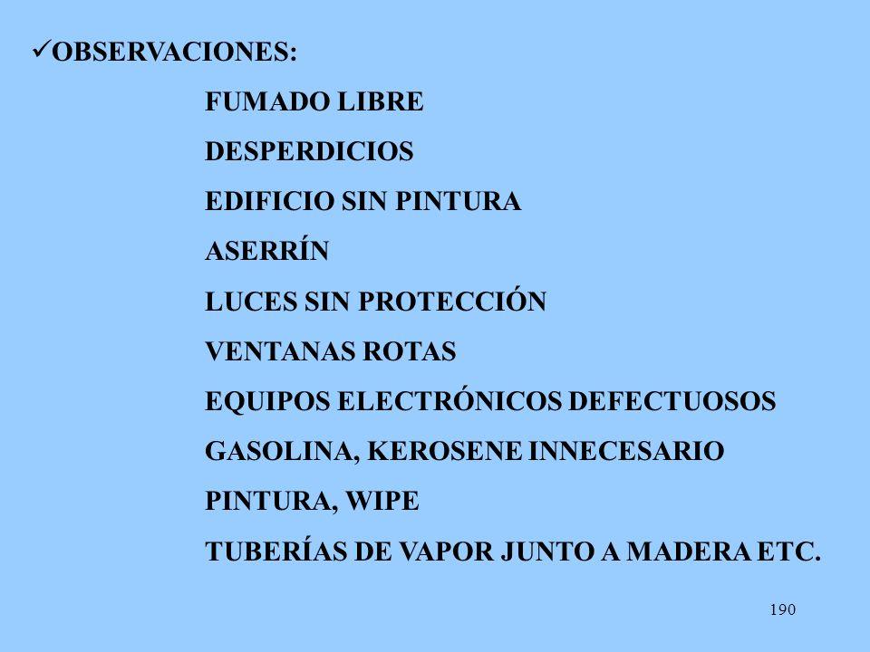 OBSERVACIONES: FUMADO LIBRE. DESPERDICIOS. EDIFICIO SIN PINTURA. ASERRÍN. LUCES SIN PROTECCIÓN.