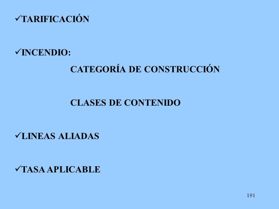 TARIFICACIÓN INCENDIO: CATEGORÍA DE CONSTRUCCIÓN CLASES DE CONTENIDO LINEAS ALIADAS TASA APLICABLE
