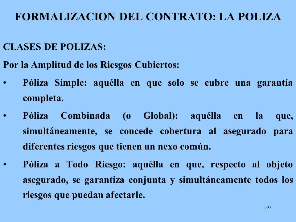FORMALIZACION DEL CONTRATO: LA POLIZA