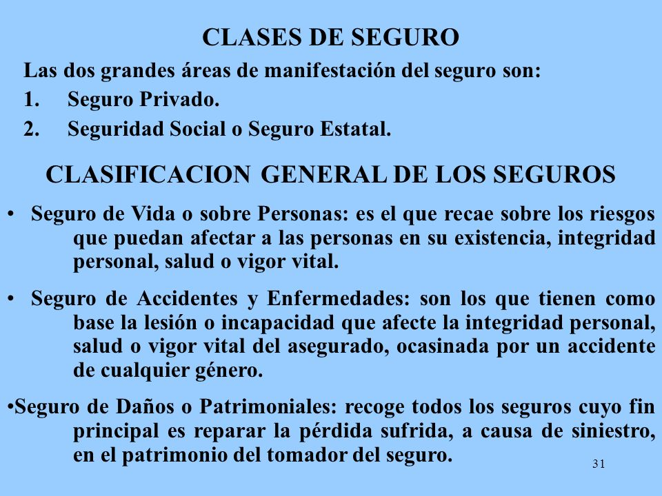 CLASIFICACION GENERAL DE LOS SEGUROS