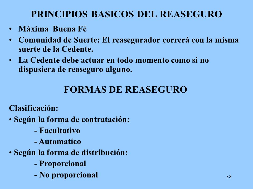 PRINCIPIOS BASICOS DEL REASEGURO