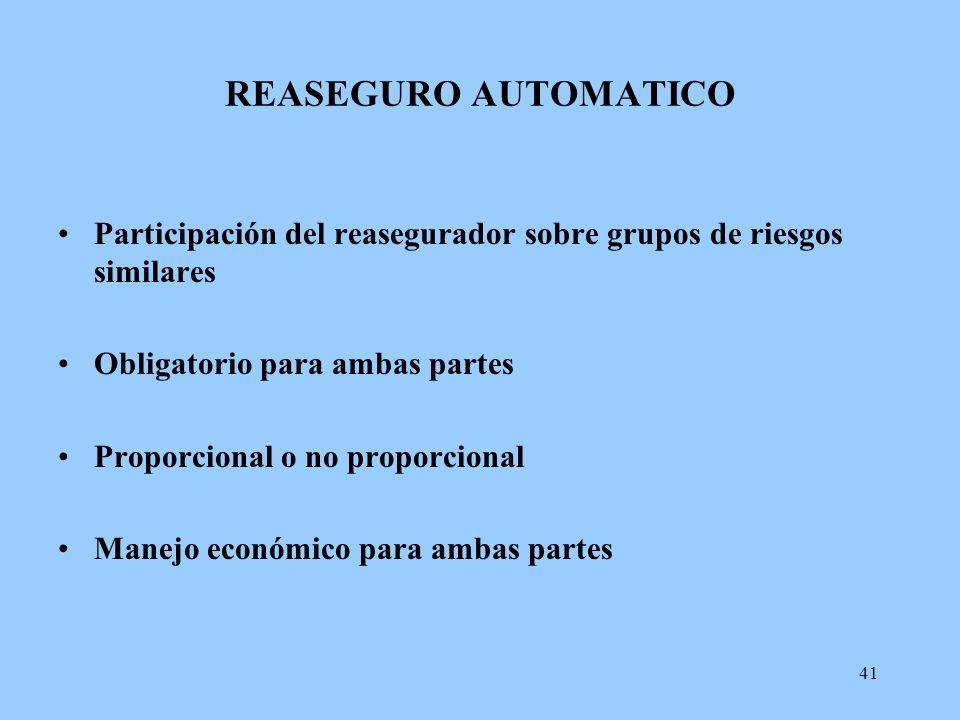 REASEGURO AUTOMATICO Participación del reasegurador sobre grupos de riesgos similares. Obligatorio para ambas partes.