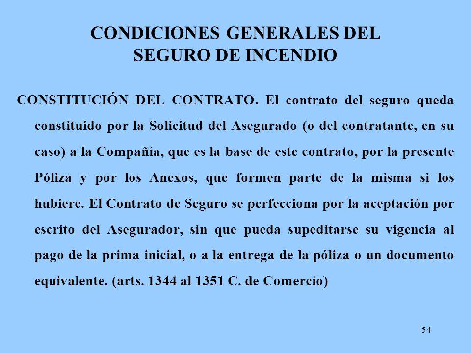 CONDICIONES GENERALES DEL SEGURO DE INCENDIO