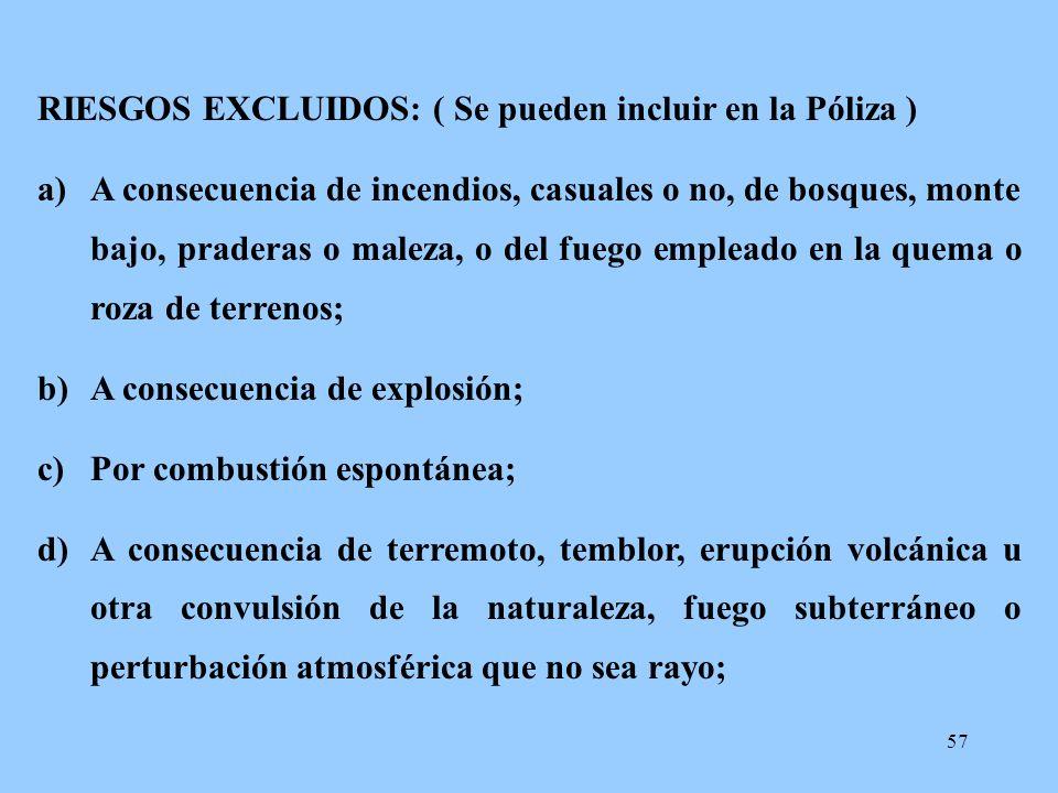 RIESGOS EXCLUIDOS: ( Se pueden incluir en la Póliza )