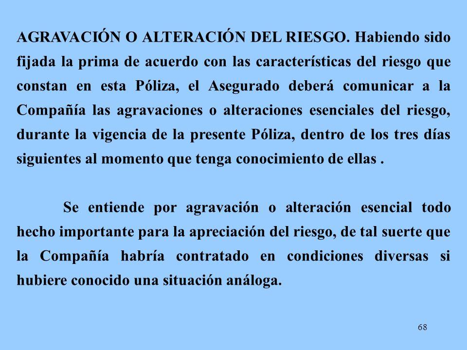 AGRAVACIÓN O ALTERACIÓN DEL RIESGO