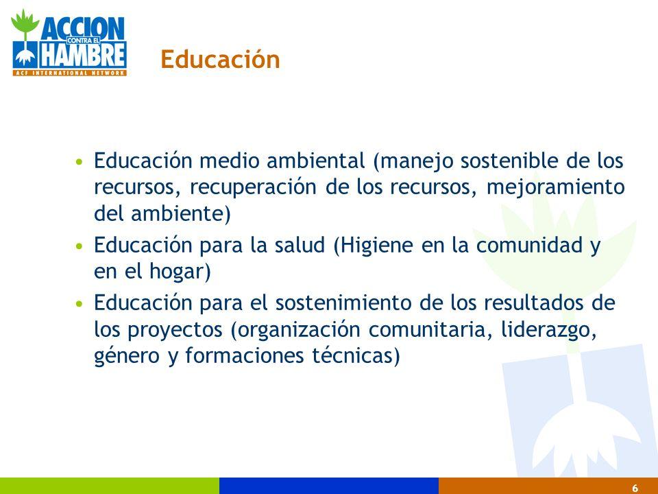 Educación Educación medio ambiental (manejo sostenible de los recursos, recuperación de los recursos, mejoramiento del ambiente)