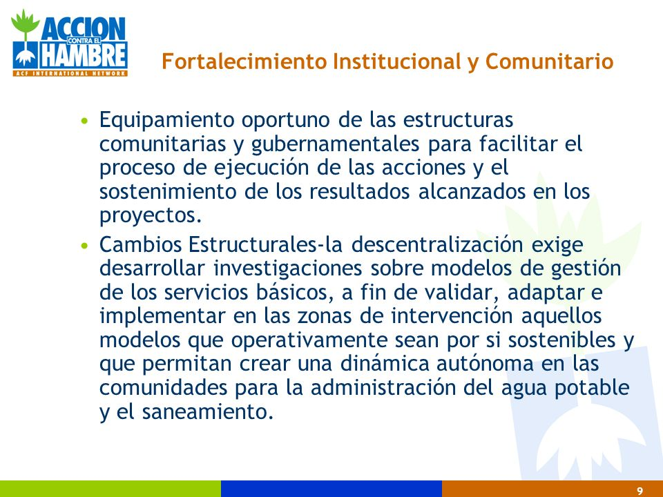 Fortalecimiento Institucional y Comunitario