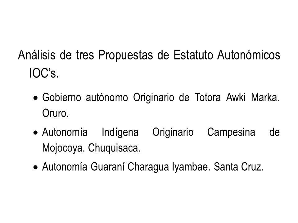 Análisis de tres Propuestas de Estatuto Autonómicos IOC's.