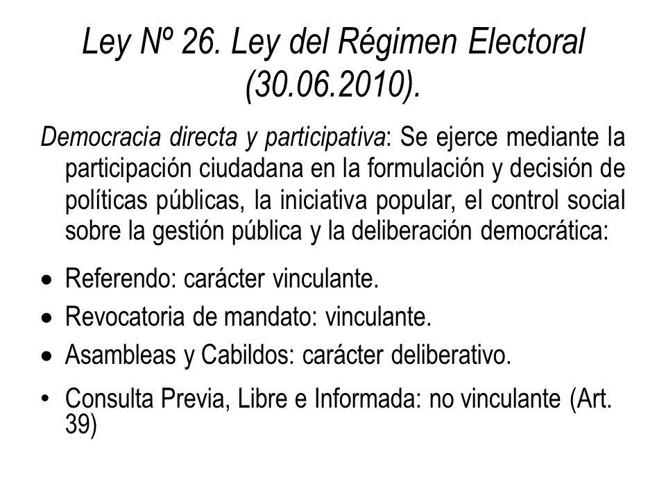 Ley Nº 26. Ley del Régimen Electoral (30.06.2010).