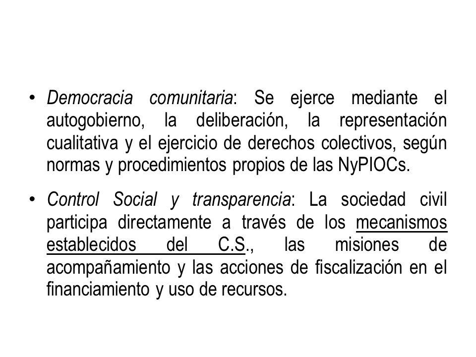 Democracia comunitaria: Se ejerce mediante el autogobierno, la deliberación, la representación cualitativa y el ejercicio de derechos colectivos, según normas y procedimientos propios de las NyPIOCs.