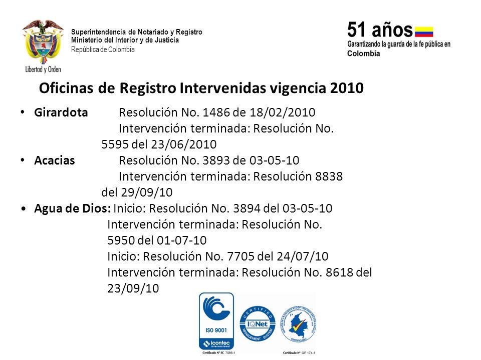 Oficinas de Registro Intervenidas vigencia 2010