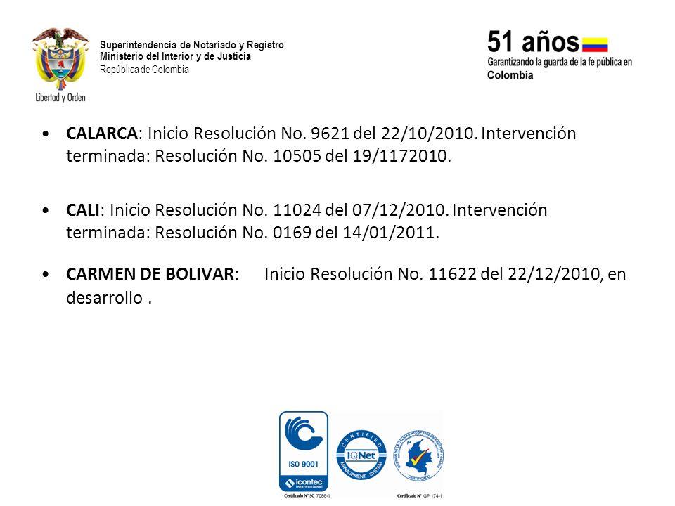 CALARCA: Inicio Resolución No. 9621 del 22/10/2010