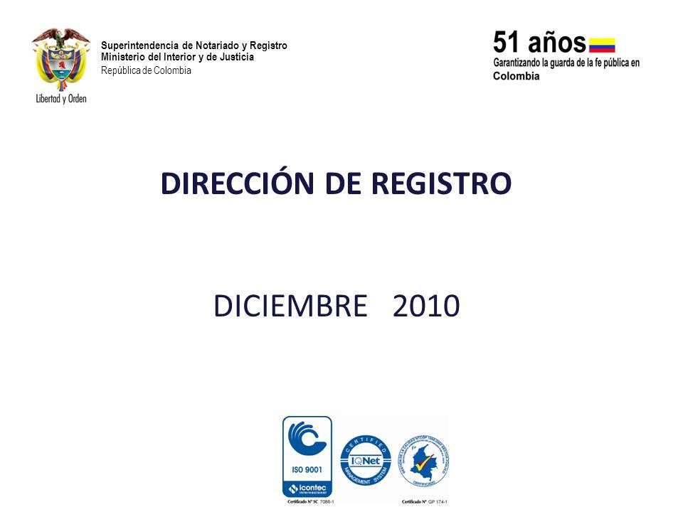 DIRECCIÓN DE REGISTRO DICIEMBRE 2010