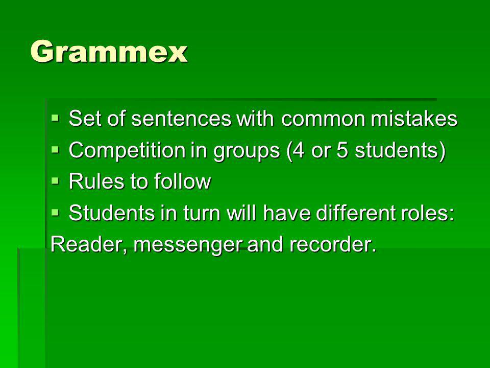 Grammex Set of sentences with common mistakes