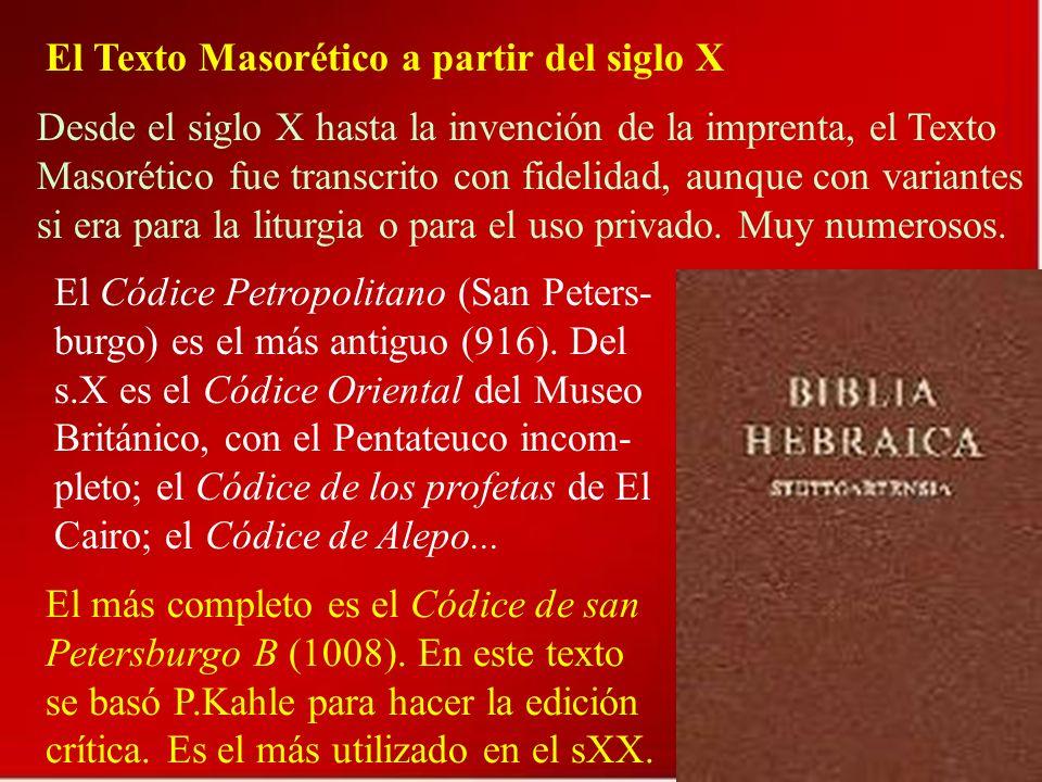 El Texto Masorético a partir del siglo X