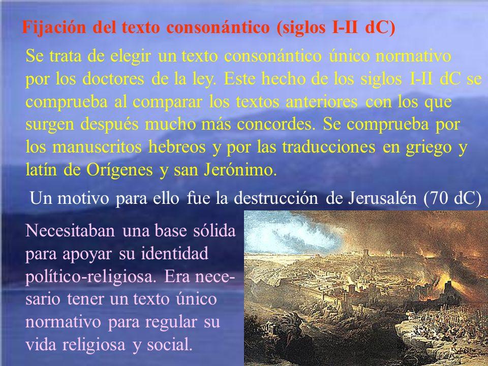 Fijación del texto consonántico (siglos I-II dC)