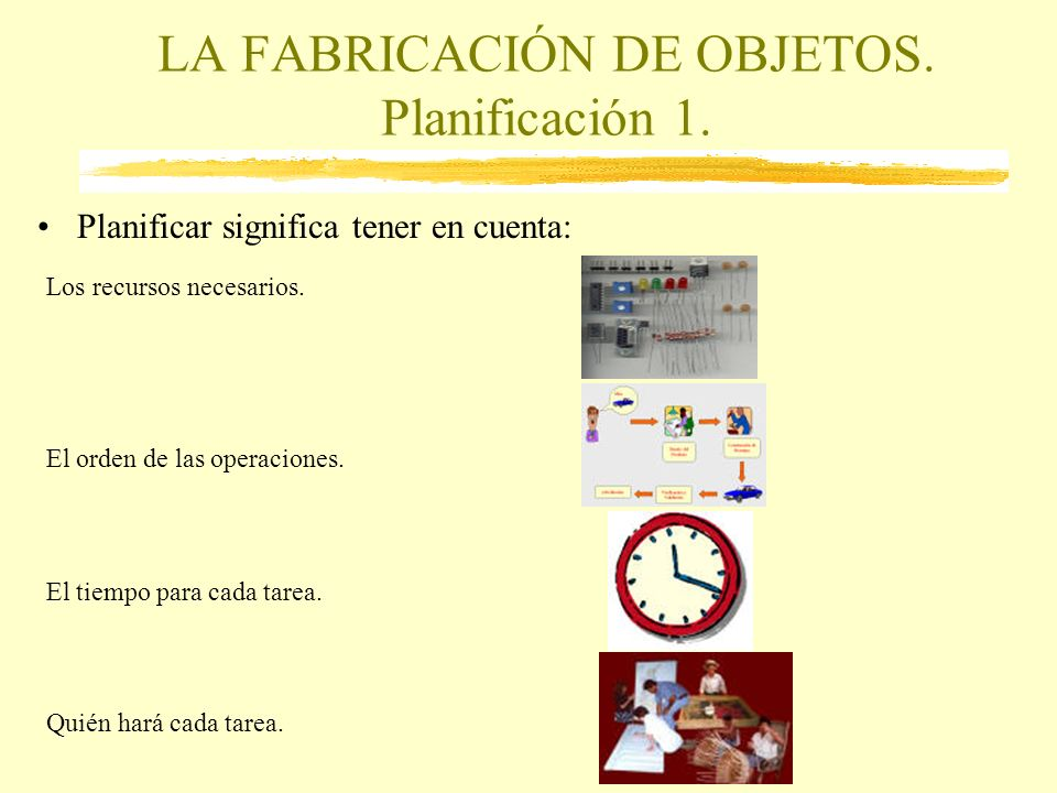 LA FABRICACIÓN DE OBJETOS. Planificación 1.