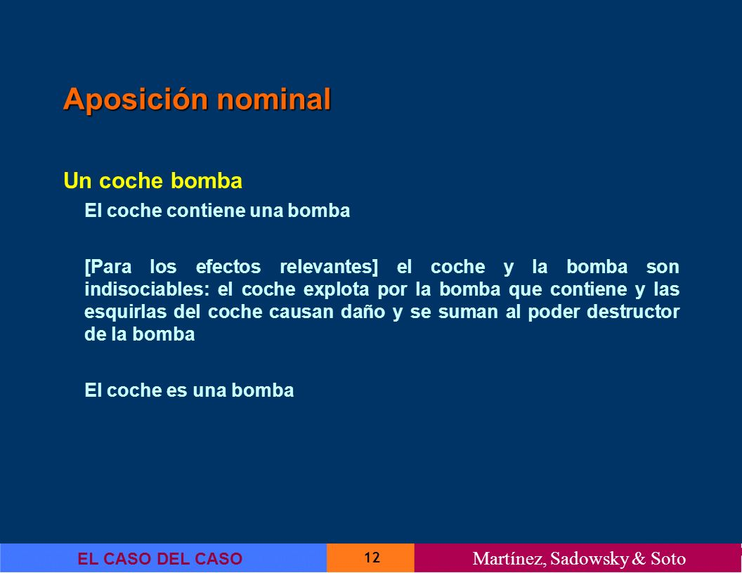 Aposición nominal Un coche bomba El coche contiene una bomba
