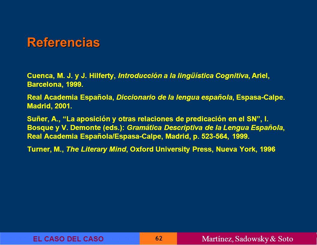 Referencias Cuenca, M. J. y J. Hilferty, Introducción a la lingüística Cognitiva, Ariel, Barcelona, 1999.
