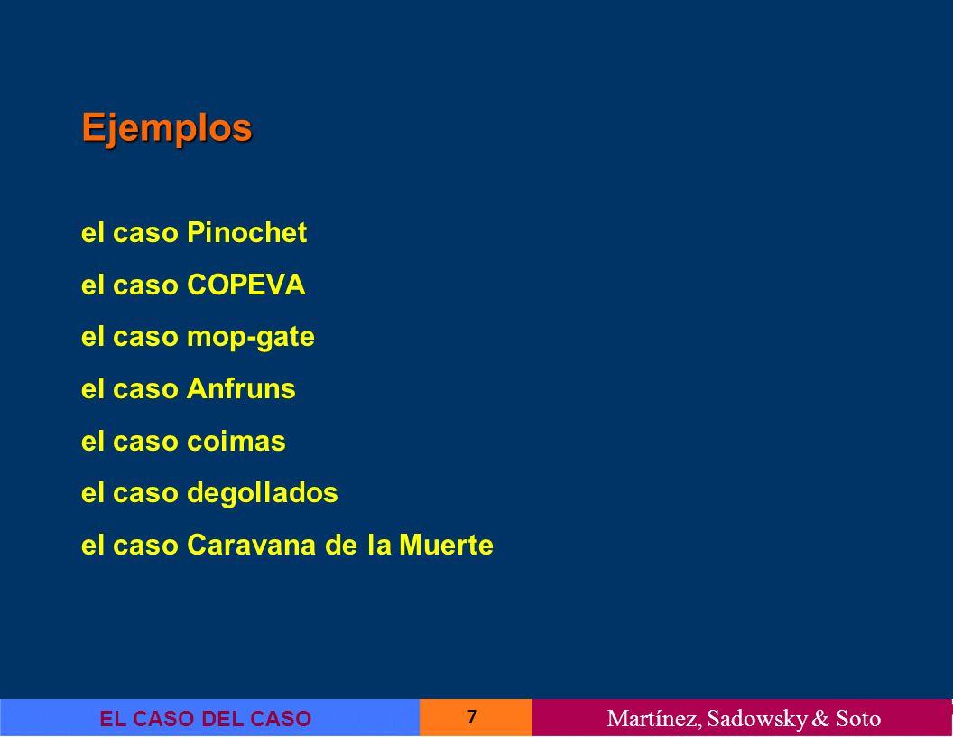 Ejemplos el caso Pinochet el caso COPEVA el caso mop-gate