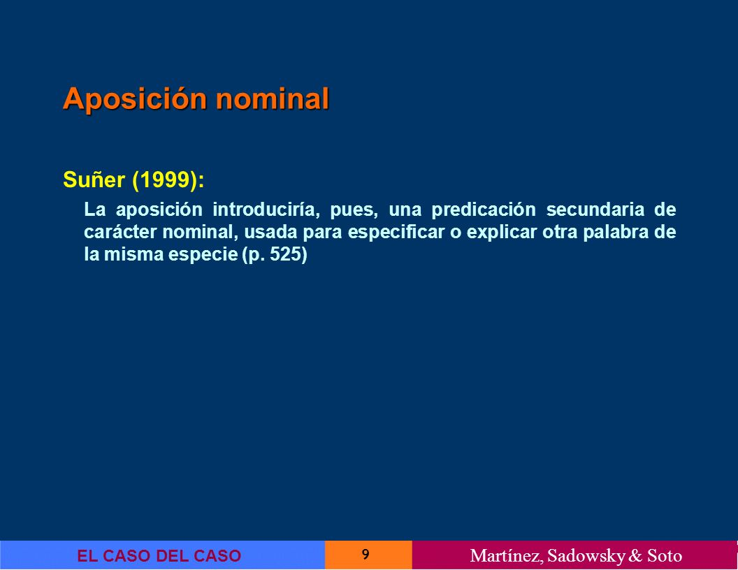 Aposición nominal Suñer (1999):