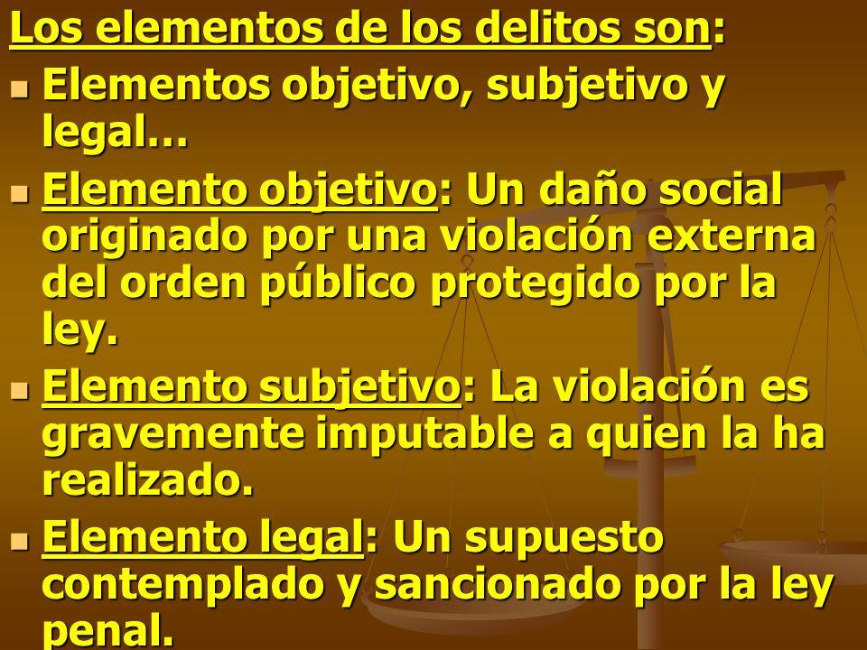 Los elementos de los delitos son: