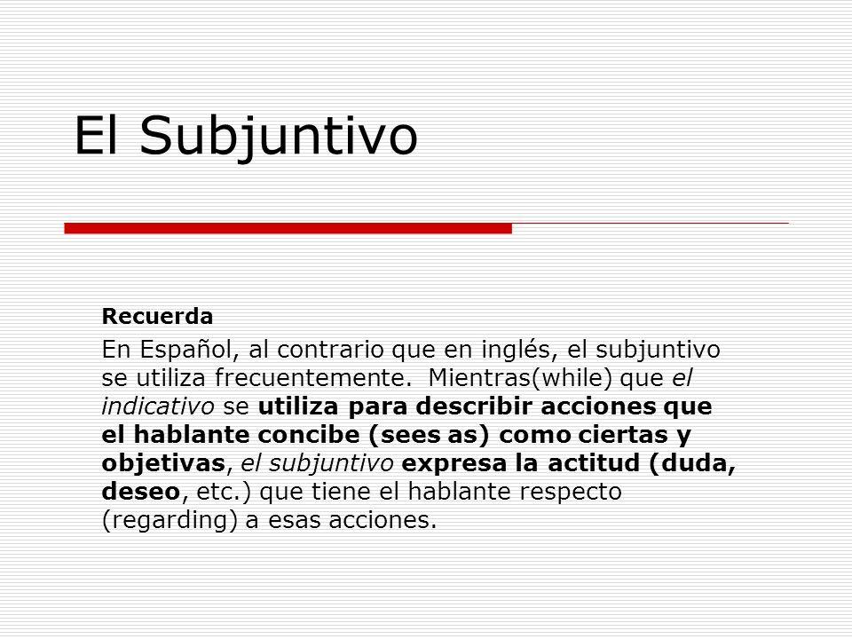 El Subjuntivo Recuerda.