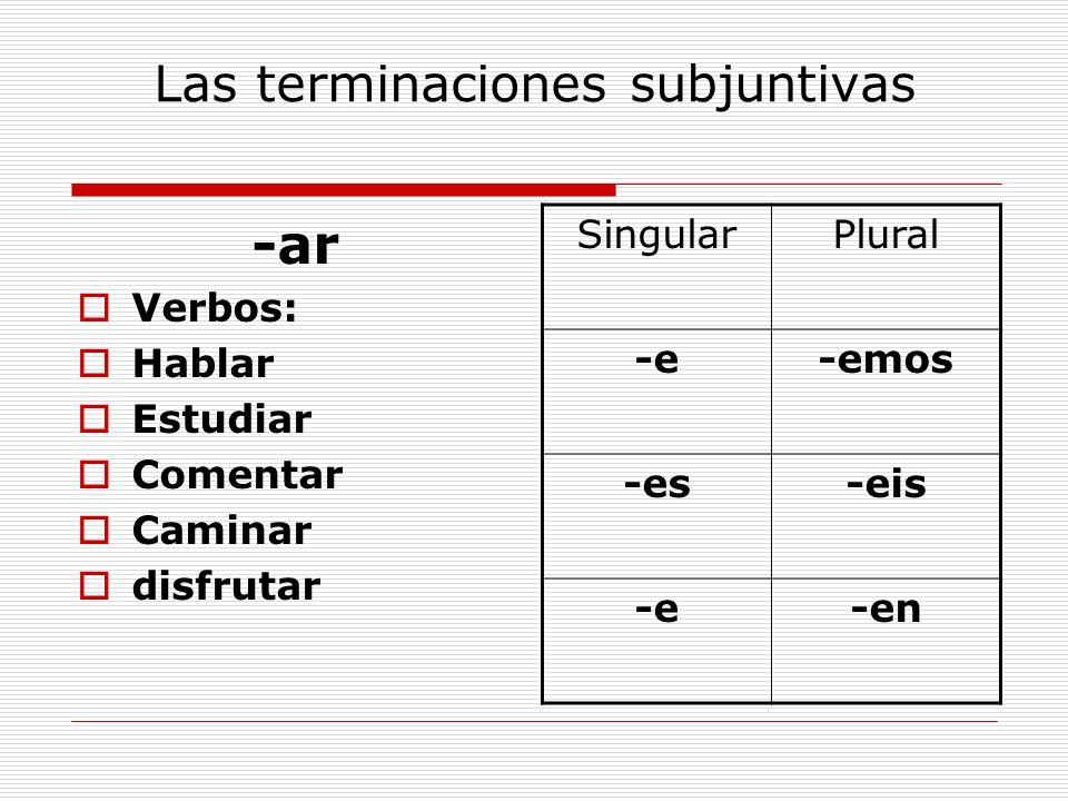 Las terminaciones subjuntivas