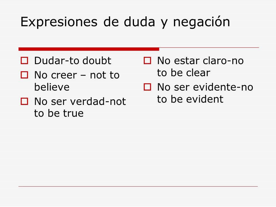 Expresiones de duda y negación
