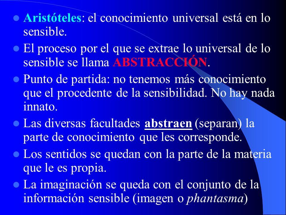 Aristóteles: el conocimiento universal está en lo sensible.