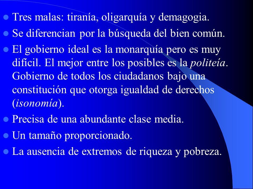Tres malas: tiranía, oligarquía y demagogia.