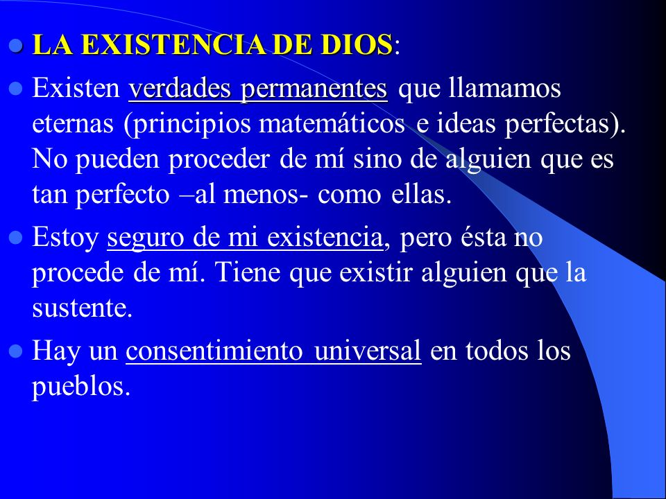 LA EXISTENCIA DE DIOS: