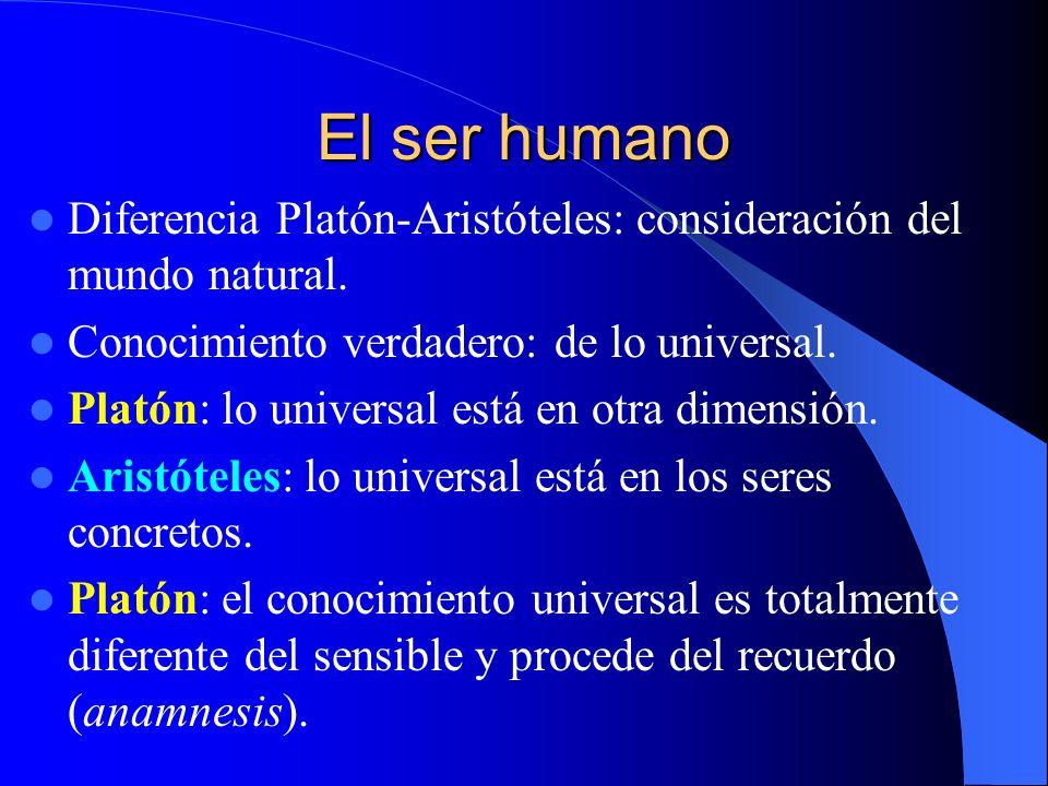 El ser humano Diferencia Platón-Aristóteles: consideración del mundo natural. Conocimiento verdadero: de lo universal.