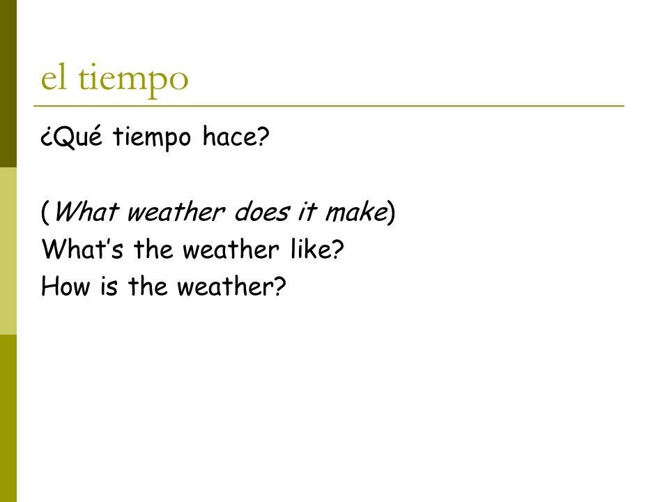 el tiempo ¿Qué tiempo hace (What weather does it make)