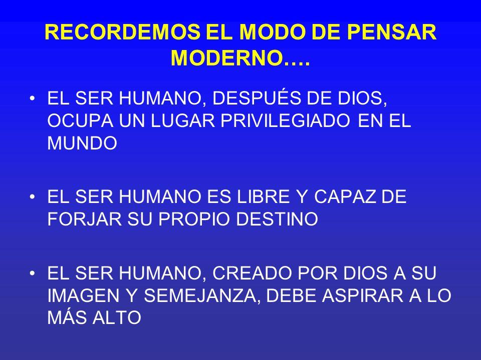 RECORDEMOS EL MODO DE PENSAR MODERNO….