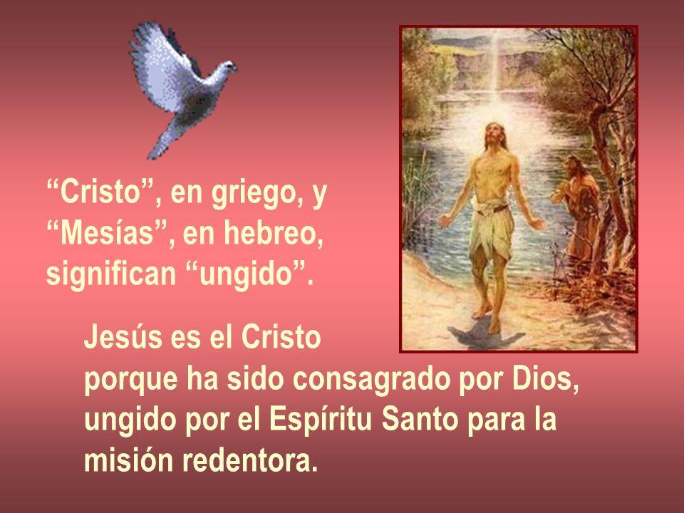 Cristo , en griego, y Mesías , en hebreo, significan ungido . Jesús es el Cristo. porque ha sido consagrado por Dios,