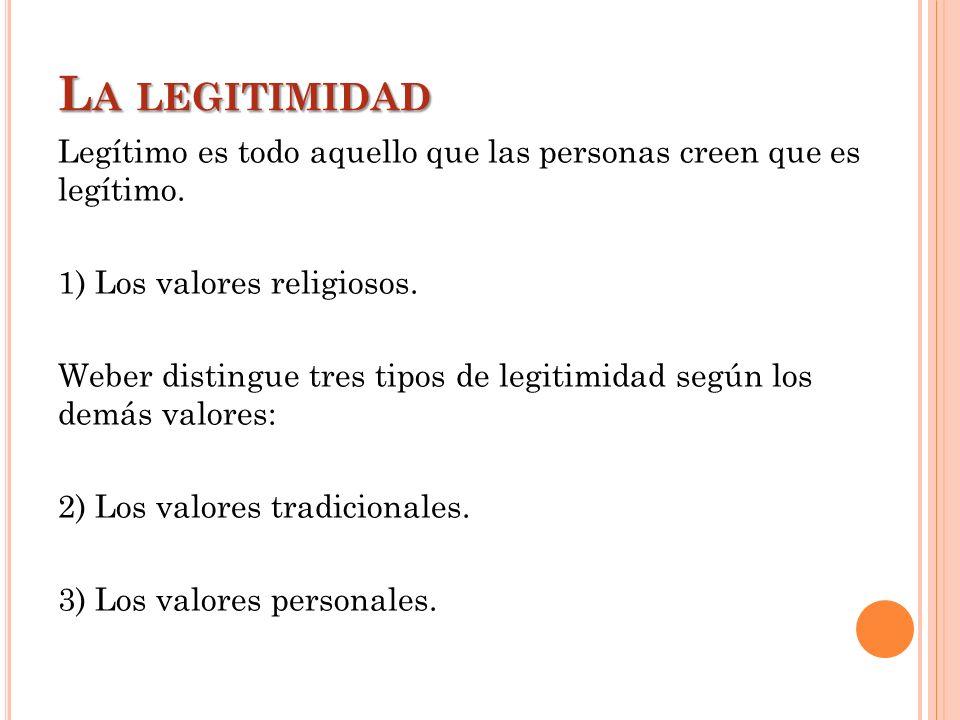 La legitimidad Legítimo es todo aquello que las personas creen que es legítimo. 1) Los valores religiosos.