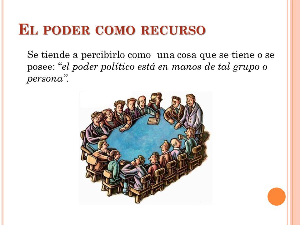 El poder como recurso Se tiende a percibirlo como una cosa que se tiene o se posee: el poder político está en manos de tal grupo o persona .