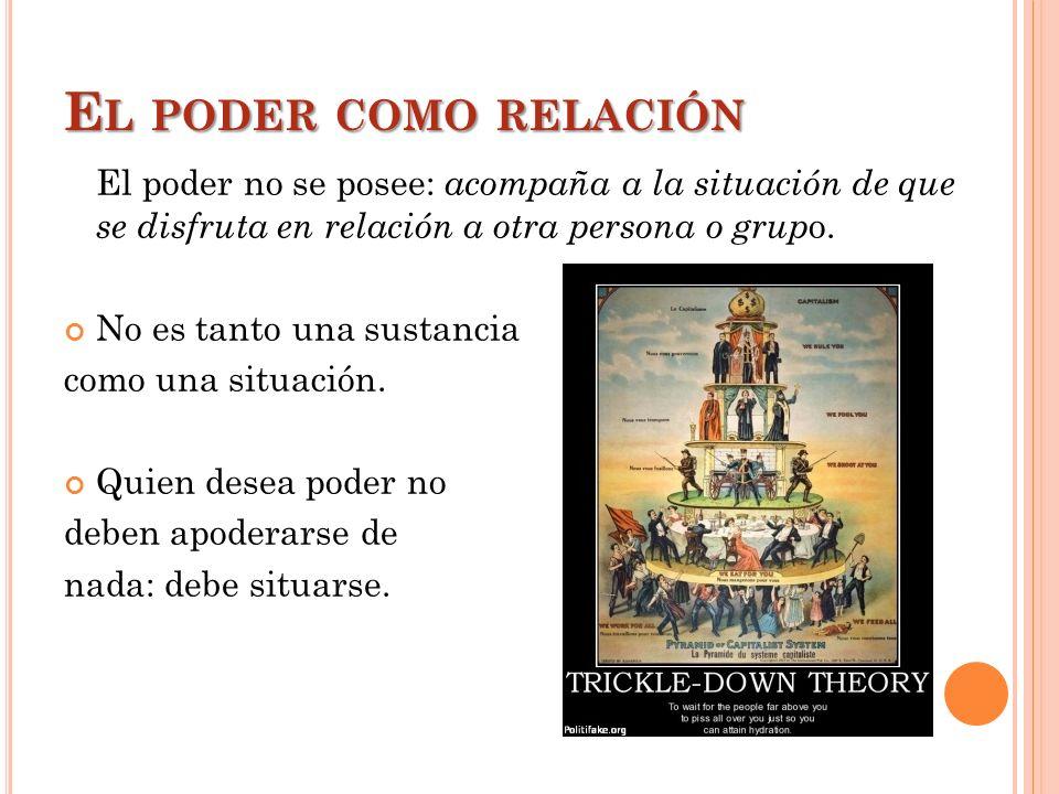 El poder como relación El poder no se posee: acompaña a la situación de que se disfruta en relación a otra persona o grupo.